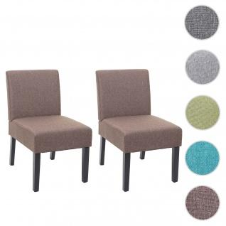 2x Esszimmerstuhl HWC-F61, Stuhl Lounge-Stuhl, Stoff/Textil ~ braun