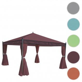Pergola Cadiz, Garten Pavillon, stabiles 7cm-Gestell mit Seitenwand ~ rot-braun 4x4m