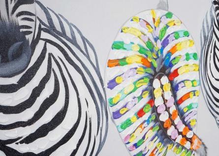 Ölgemälde Zebras II, 100% handgemaltes Wandbild Gemälde XL, 140x70cm - Vorschau 5