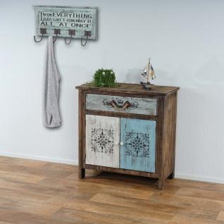 Kommode Funchal mit Wandgarderobe Camden, Schrank Schubladenkommode mit Garderobe Garderobenpaneel, Shabby Vintage