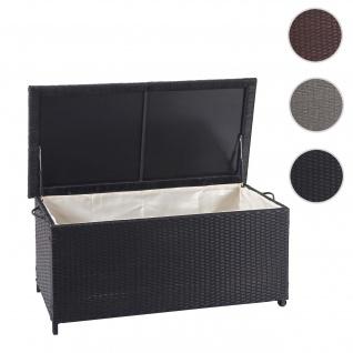 Poly-Rattan Kissenbox HWC-D88, Gartentruhe Auflagenbox Truhe ~ Premium schwarz, 51x100x50cm 170l