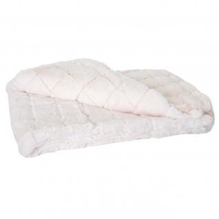 Wohndecke Karo, Tagesdecke Kuscheldecke Sofadecke, flauschig weiß Fellimitat 150x120cm