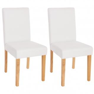 2x Esszimmerstuhl Stuhl Küchenstuhl Littau ~ Kunstleder, weiß matt, helle Beine