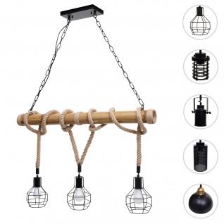 Pendelleuchte HWC-H82, Hängelampe Hängeleuchte, Industrial Vintage Bambus Seil Metall schwarz ~ 3x Gitterlampenschirm