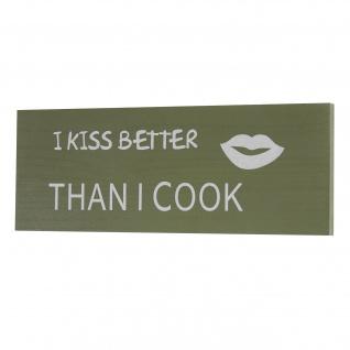 Wandschild Kiss, Holzschild Schild, Shabby-Look 40cm