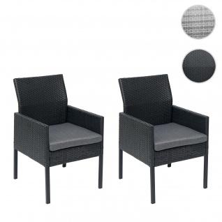 2x Poly-Rattan Sessel HWC-G12, Gartenstuhl Korbsessel ~ schwarz, Kissen dunkelgrau, Alu / halbrund / Spun Poly