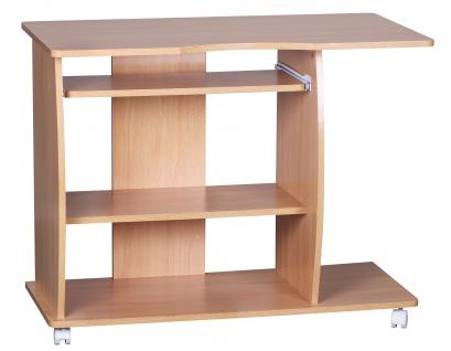 Computertisch A069, Schreibtisch Bürotisch, mit Rollen, 90x71x50cm buche