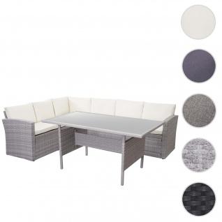 Poly-Rattan-Garnitur HWC-A29, Gartengarnitur Sitzgruppe Lounge-Esstisch-Set Sofa ~ hellgrau, Kissen creme