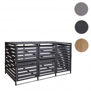 XL 3er-/6er-Mülltonnenverkleidung HWC-H62, Mülltonnenbox, erweiterbar 110x65x93cm Massiv-Holz ~ anthrazit
