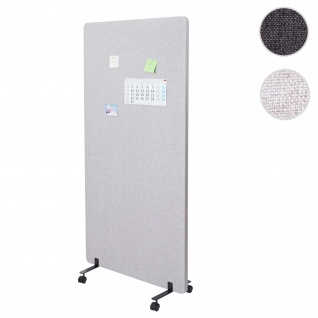 Akustik-Trennwand HWC-G77, Büro-Sichtschutz Raumteiler Pinnwand, doppelwandig rollbar Stoff/Textil ~ 167x80cm grau