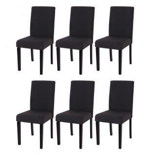 6x Esszimmerstuhl Stuhl Küchenstuhl Littau ~ Textil, schwarz, dunkle Beine