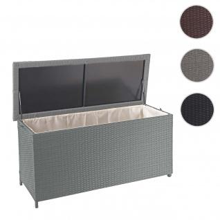 Poly-Rattan Kissenbox HWC-D88, Gartentruhe Auflagenbox Truhe ~ Premium grau, 63x135x52cm 320l