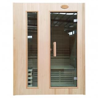 Sauna HWC-D58, Saunakabine Wärmekabine, Saunaofen 2, 3kW Saunasteine Sicherheitsglas 2 Personen 190x150x105cm