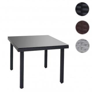 Poly-Rattan Gartentisch Cava, Esstisch Tisch mit Glasplatte, 90x90x74cm anthrazit