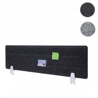 Tischtrennwand HWC-G76, Büro-Sichtschutz Schreibtisch Pinnwand, Klemmen Stoff/Textil mit Prägung ~ 100x30cm schwarz
