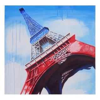 Ölgemälde Eiffelturm Tricolore, 100% handgemaltes Wandbild Gemälde XL, 100x100cm - Vorschau 4