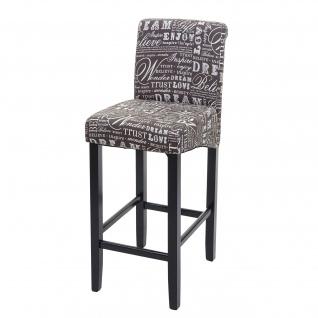 Barhocker HWC-C33, Barstuhl Tresenhocker, Holz ~ Schriftzug, grau, dunkle Beine, Stoff/Textil - Vorschau 3