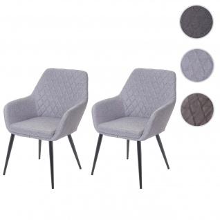 2x Esszimmerstuhl HWC-D35, Stuhl Küchenstuhl, Stoff/Textil Retro hellgrau