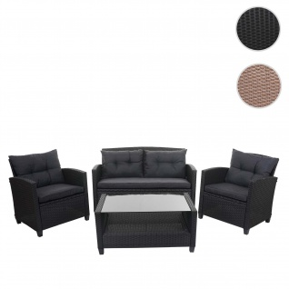 XXL Poly-Rattan Garnitur HWC-F10, Balkon-/Garten-/Lounge-Set Sitzgruppe, Sofa Sessel mit Kissen Spun Poly ~ anthrazit