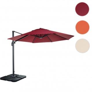 Gastronomie-Ampelschirm HWC-A96, Sonnenschirm, rund Ø 3m Polyester Alu/Stahl 23kg ~ bordeaux mit Ständer, drehbar
