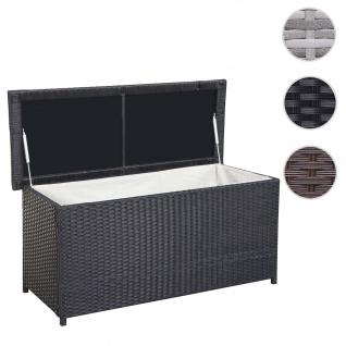 Poly-Rattan Kissenbox HWC-D43, Truhe Auflagenbox Gartentruhe, 63x135x52cm 290l ~ schwarz