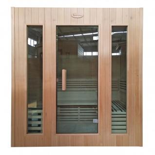 Sauna HWC-D59, Saunakabine Wärmekabine, Saunaofen 4, 5kW Saunasteine Sicherheitsglas 4 Personen 200x175x160cm