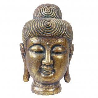 XL Deko Figur Buddha 38cm, Polyresin Skulptur Kopf, In-/Outdoor gold
