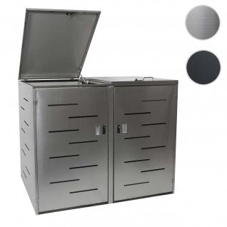 XL 2er-/4er-Mülltonnenverkleidung HWC-E83, Mülltonnenbox Mülltonnenabdeckung, erweiterbar 108x66x94cm ~ Edelstahl