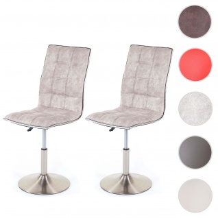 2x Esszimmerstuhl HWC-C41, Stuhl Küchenstuhl, höhenverstellbar drehbar, Fuß gebürstet, Stoff/Textil vintage grau