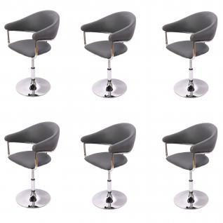 6x Esszimmerstuhl Dema, Drehstuhl Stuhl, Kunstleder ~ grau