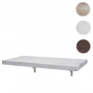 Wandtisch HWC-H48, Wandklapptisch Wandregal Tisch, klappbar Massiv-Holz ~ 120x60cm shabby weiß