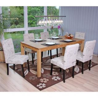 6x Esszimmerstuhl Stuhl Küchenstuhl Littau ~ Textil mit Schriftzug, creme, dunkle Beine