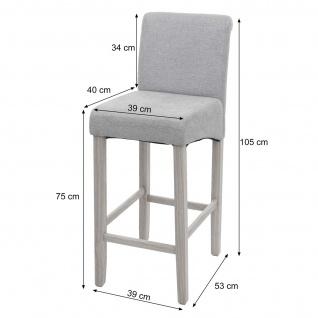 2x Barhocker HWC-C33, Barstuhl Tresenhocker, Holz ~ grau matt, helle Beine, Kunstleder - Vorschau 3