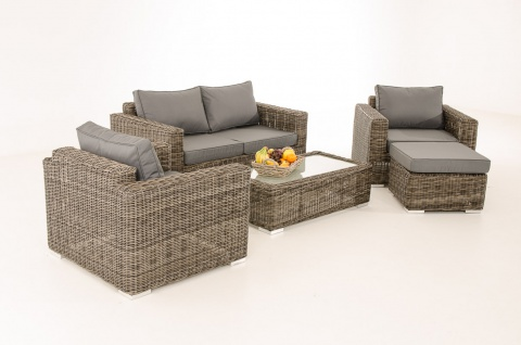2-1-1 Gartengarnitur CP050 Sitzgruppe Lounge-Garnitur Poly-Rattan ~ Kissen eisengrau, grau-meliert