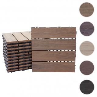 WPC Bodenfliese HWC-E20, Holzoptik Balkon/Terrasse, 3D-Struktur linear ~ 4x je 50x50cm = 1qm, geprägt-braun