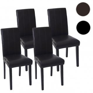 4x Esszimmerstuhl Florina, Stuhl Lehnstuhl Kunstleder braun, dunkle Beine