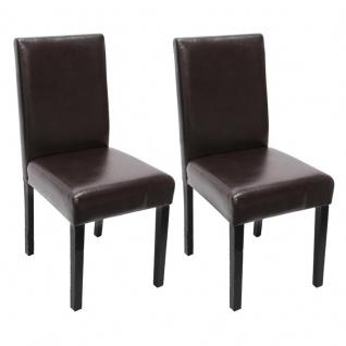 2x Esszimmerstuhl Stuhl Küchenstuhl Littau ~ Kunstleder, braun, dunkle Beine