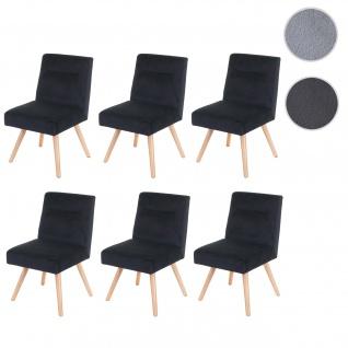 6x Esszimmerstuhl HWC-F38, Stuhl Küchenstuhl, Retro Design Samt ~ schwarz