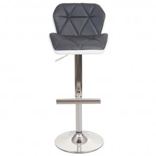 2x Barhocker HWC-A92, Barstuhl Tresenhocker, höhenverstellbar Kunstleder ~ grau, Fuß gebürstet - Vorschau 4