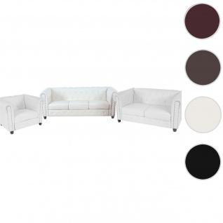 Luxus 3-2-1 Sofagarnitur Couchgarnitur Loungesofa Chesterfield Kunstleder ~ runde Füße, weiß