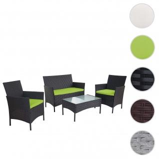 2-1-1 Poly-Rattan Garten-Garnitur Halden, Sitzgruppe Lounge-Set Sofa ~ anthrazit, Kissen grün