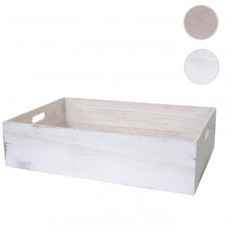 Holzbox HWC-C20, Dekokiste Aufbewahrung Holzkiste, Shabby-Look Vintage ~ 60x40x15cm, weiß shabby