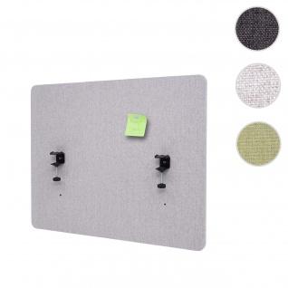 Akustik-Tischtrennwand HWC-G75, Büro-Sichtschutz Schreibtisch Pinnwand, doppelwandig Stoff/Textil ~ 75x60cm grau
