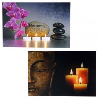 2x LED-Bild Leinwandbild Leuchtbild Wandbild 40x60cm, Timer ~ Buddha + flackernd
