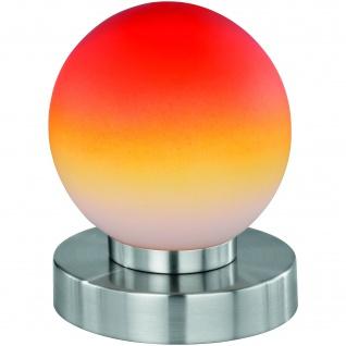 Tischleuchte Dimmer Nickel matt, Glas opal orange