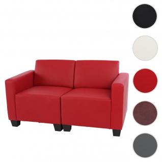 Modular Zweisitzer Sofa Couch Lyon, Kunstleder ~ rot