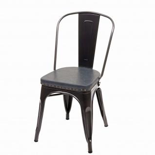 2x Esszimmerstuhl HWC-H10e, Küchenstuhl Stuhl, Chesterfield Metall Kunstleder Industrial Gastronomie ~ schwarz-grau - Vorschau 3