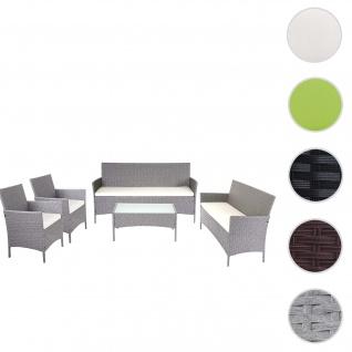 3-2-1-1 Poly-Rattan Garten-Garnitur Halden, Lounge-Set Sitzgruppe Sofa ~ grau, Kissen creme