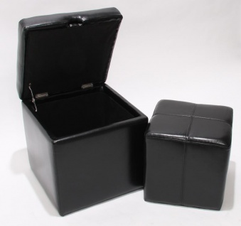 2er Set Hocker Sitzwürfel Onex, LEDER schwarz