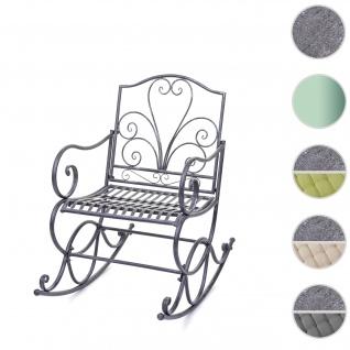 Schaukelstuhl HWC-C39, Schwingsessel Gartenstuhl, Metall Verzierung 100x60cm antik-grün ohne Sitzkissen